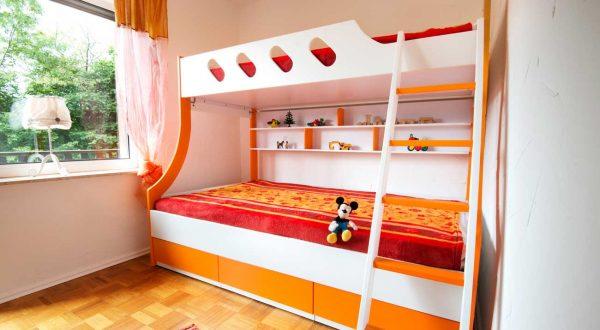 Doppelstockbett im Kinderzimmer, im Ferienhaus Rhönblick in Hilders