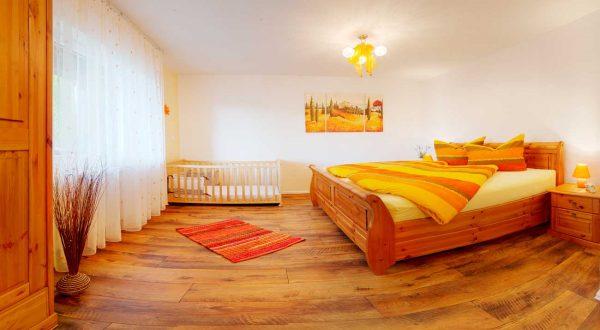 Schlafzimmer im Ferienhaus Rhönblick Hilders