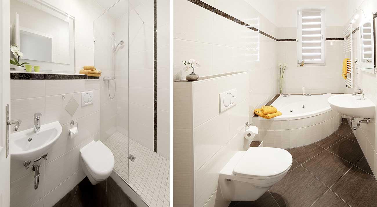 Badezimmer mit Eckbadewann in der Ferienwohnung in Suhl von Gabi Moritz