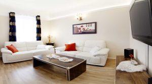 Wohnzimmer mit Couch und TV in der Ferienwohnung von Gabi Moritz in Suhl