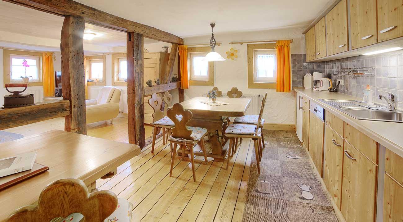 Küche im Ferienhaus Schöne Aussicht im Thüringer Wald