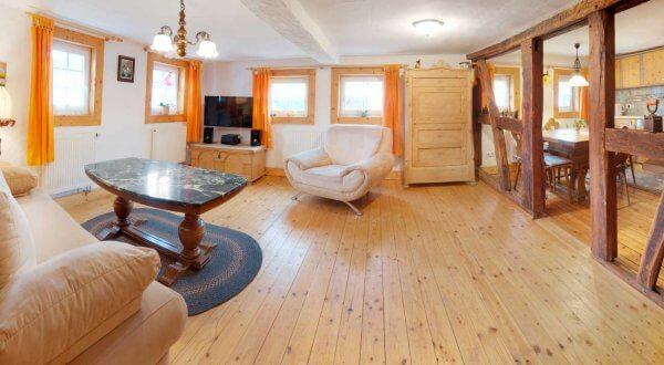 Wohnzimmer im Ferienhaus Schöne Aussicht im Thüringer Wald