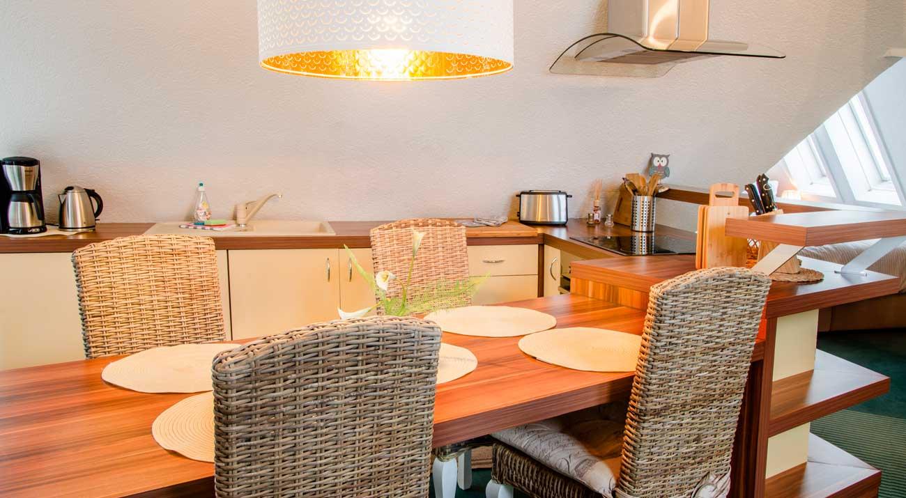 Küche in der Ferienwohnung Suhler Loft im Thüringer Wald