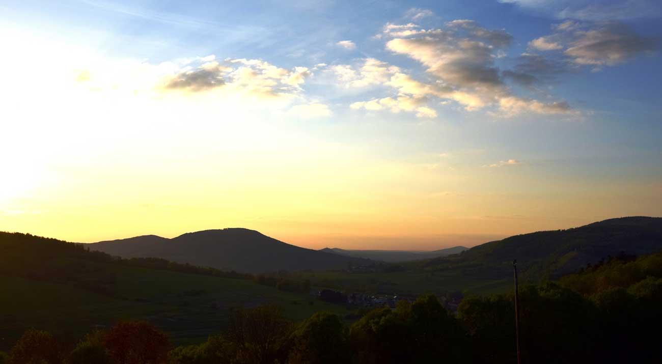 Landschaft bei Sonnenuntergang Thüringer Wald